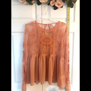 L blush lace baby doll top